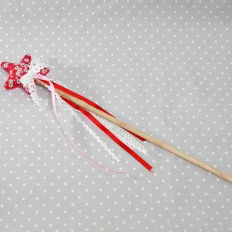 Baguette magique de fée en Liberty Mitsy rouge 2