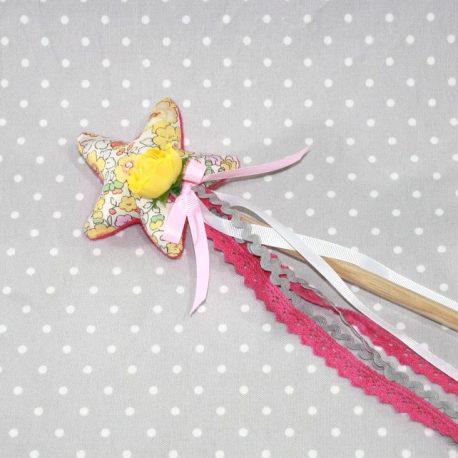 Baguette magique de fée en Liberty jaune