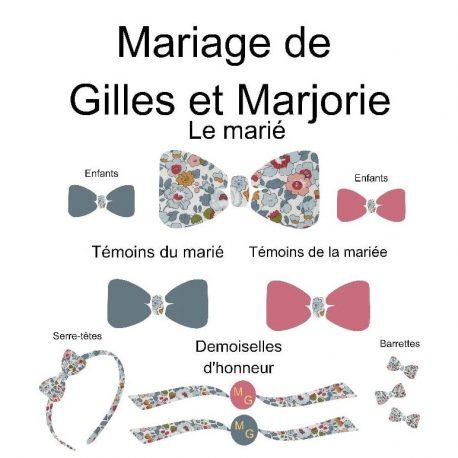 Mariage de Gilles et Marjorie nœud papillon témoins de la mariée homme 3