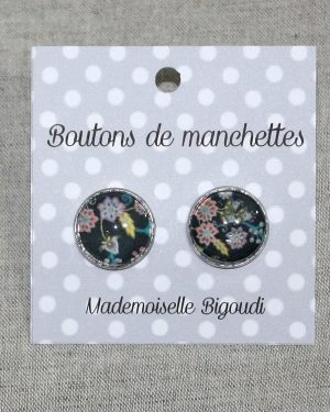 Boutons de manchettes ronds en Liberty Buds and Berries noir