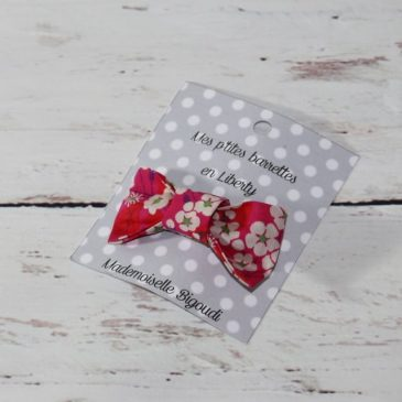 Barrette en Liberty Mitsi rouge