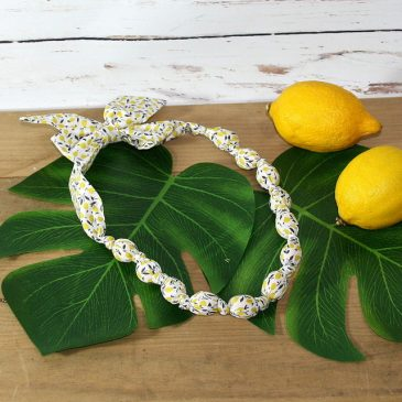 Collier boule en Liberty Ed citron